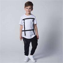 ORO חולצת טוניקה סרטים לבן (5-6 שנים)