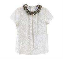 חולצת Chenille עם צווארון מעוטר בפאייטים לילדות בצבע לבן