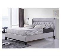 מיטה זוגית בריפוד בד ותפרי נוי קפיטונאז דגם FIONA