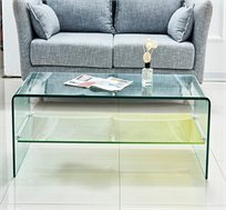 שולחן קפה סלוני כולל מדף תחתון מזכוכית