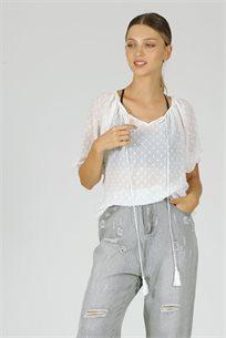 חולצה שיפון נקודות - לבן