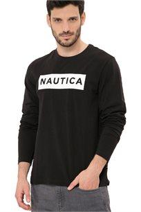 חולצת טי שרט ארוכה Nautica עם צווארון עגול לגברים דגם 93306V0TB בצבע שחור
