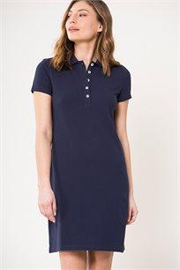שמלת פולו עם כפתורים לנשים Nautica בצבע כחול כהה