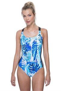 בגד-ים שלם בגזרת גופיה Free לאישה בהדפס טרופי מולטי כחול