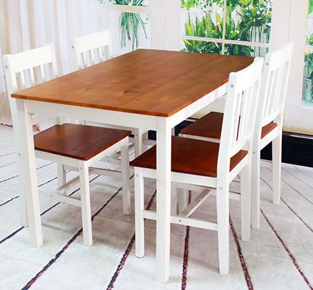 שולחן פינת אוכל עם 4 כיסאות מעץ מלא בעיצוב אלגנטי - תמונה 4