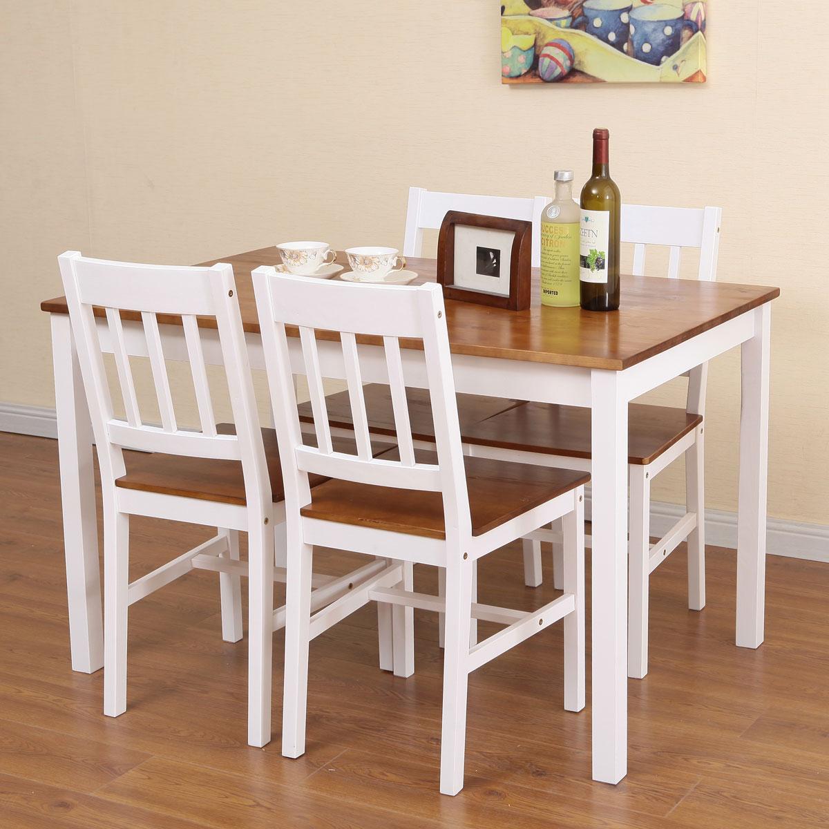 שולחן פינת אוכל עם 4 כיסאות מעץ מלא בעיצוב אלגנטי - תמונה 2