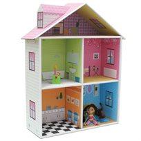 בית החלומות! בית בובות מדגם MELLROSE, עשיר בצבע ובפרטים וכולל 4 חדרים ועליית גג + סט אביזרים