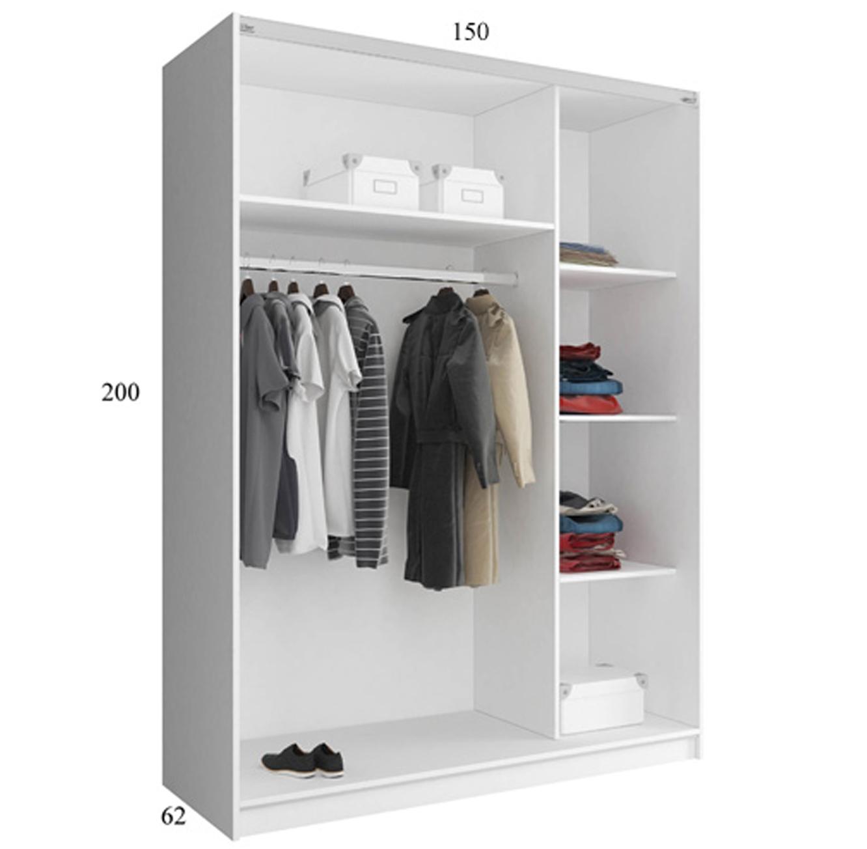 ארון בגדים עם 2 דלתות הזזה בגימור מראה בעל מדפים ומקום לתלייה דגם גלוב HOME DECOR - תמונה 3