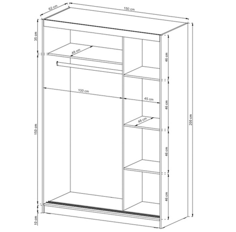 ארון בגדים עם 2 דלתות הזזה בגימור מראה בעל מדפים ומקום לתלייה דגם גלוב HOME DECOR - תמונה 4