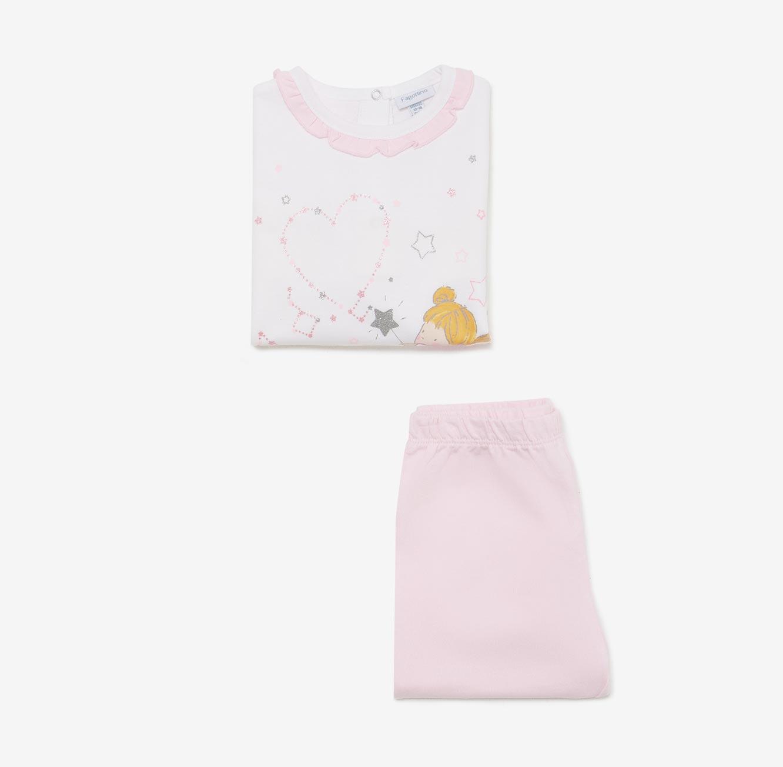 פיג'מה OVS לתינוקות - ורוד לבן