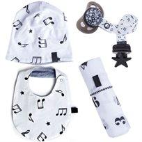 Babymitmit סט לתינוק Music - כובע, סינר, חיתול טטרה וסרט למוצץ