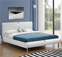 מיטה זוגית מרופדת בעיצוב מרשים עם בסיס עץ מלא ורגלי ניקל דגם נינה HOME DECOR