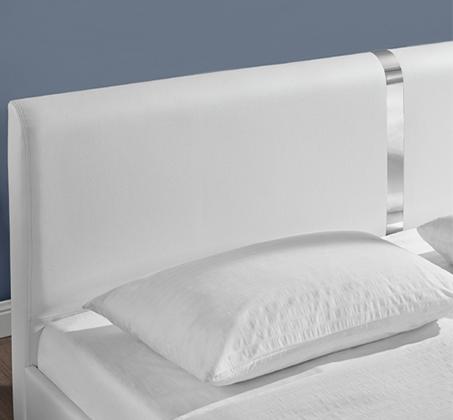 מיטה זוגית מרופדת בעיצוב מרשים עם בסיס עץ מלא ורגלי ניקל דגם נינה HOME DECOR  - תמונה 6