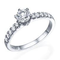 """טבעת אירוסין """"יולי משובצת"""" 0.75 קראט זהב לבן"""