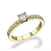 """טבעת אירוסין זהב צהוב """"מלודי"""" 0.56 קראט"""