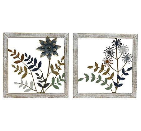 קישוט קיר זוגי מתכתי עם מסגרת בצורת פרחים וענפים