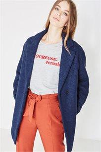 מעיל טרנדי צמר ובוקלה לנשים בשני צבעים לבחירה