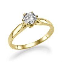 """טבעת אירוסין סוליטר זהב צהוב """"גרייס"""" 0.41 F/Si1"""