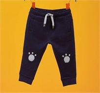מכנסי כותנה עם הדפס לפעוטות בצבע כחול נייבי