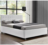 מיטה זוגית מעוצבת בריפוד דמוי עור עם ארגז מצעים מבית HOME DECOR