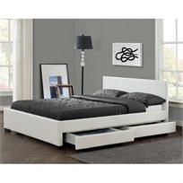 מיטה זוגית מעוצבת בריפוד דמוי עור עם 4 מגירות מבית HOME DECOR