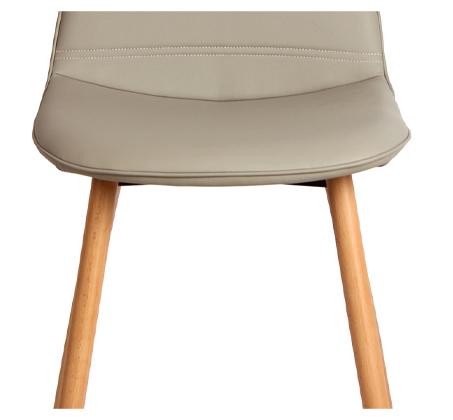 כיסא לפינת אוכל דגם סמוקי פסים ביתילי בעיצוב רטרו בעל ריפוד בד פוליאסטר ורגלי עץ בוק - תמונה 4