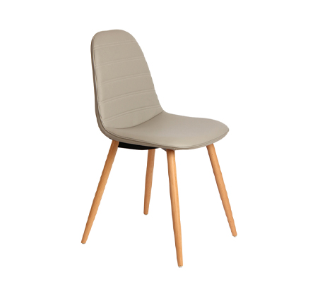 כיסא לפינת אוכל דגם סמוקי פסים ביתילי בעיצוב רטרו בעל ריפוד בד פוליאסטר ורגלי עץ בוק - תמונה 2