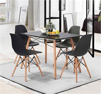פינת אוכל בעיצוב מודרני הכוללת שולחן וארבעה כסאות בצבעים לבחירה דגם לונדון שחור Homax