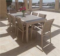 שולחן נפתח לגינה + 6 כסאות עשוי אלומיניום בצבעים לבחירה