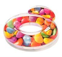 """גלגל ים בעיצוב סוכריות צבעוניות עם ידיות ומשענת 180X72 ס""""מ לים ולבריכה BESTWAY"""