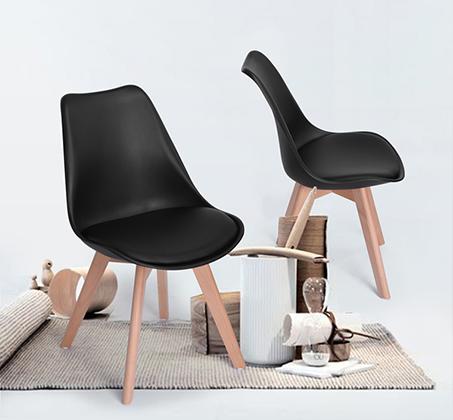 זוג כסאות בריפוד דמוי עור דגם פרנקפורט