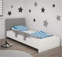 מיטת יחיד לחדרי ילדים דגם WAVE כולל מזרון ומעקה במגוון צבעים לבחירה