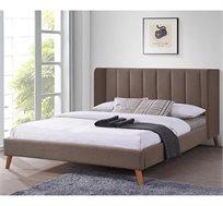 מיטה זוגית מרופדת בד עם רגלי עץ דגם ALMOG