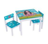 """שולחן וכיסאות לילדים עם ציור בהדפסת משי של """"מיכל הקטנה"""" לעיצוב חדר הילדים"""