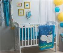 סט מצעים 3 חלקים למיטת תינוק 100% כותנה סאטן - היפו כחול