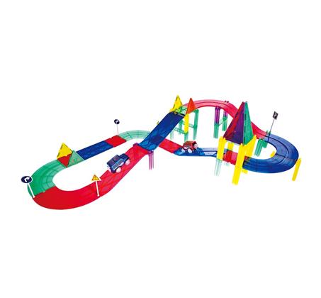 משחק מגנטים לילדים 82 חלקים מסלול מכוניות להרכבה בתלת מימד מפתח ויצירתי PLAYMAGER - משלוח חינם - תמונה 2