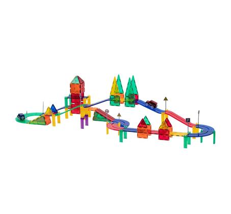 משחק מגנטים לילדים 82 חלקים מסלול מכוניות להרכבה בתלת מימד מפתח ויצירתי PLAYMAGER - משלוח חינם - תמונה 5