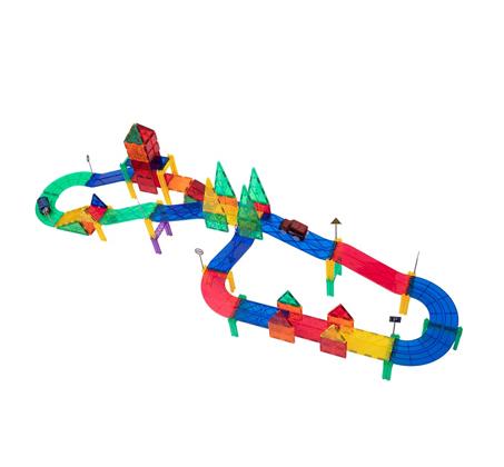 משחק מגנטים לילדים 82 חלקים מסלול מכוניות להרכבה בתלת מימד מפתח ויצירתי PLAYMAGER - משלוח חינם - תמונה 4