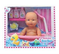 """תינוק באמבטיה מבית במבולינה Bambolina בגובה 38 ס""""מ כולל אביזרים"""