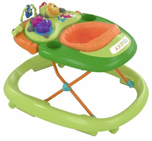 הליכון לתינוק עם פעלולון אלקטרוני ווקי טוקי - Walky Talky כתום/ירוק