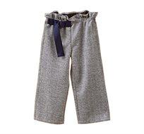 מכנס סטרצ'י רחב לילדות בצבע אפור