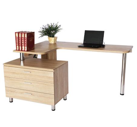עמדת עבודה פינתית הכוללת שולחן עבודה ושידת מגירות דגם ADIR