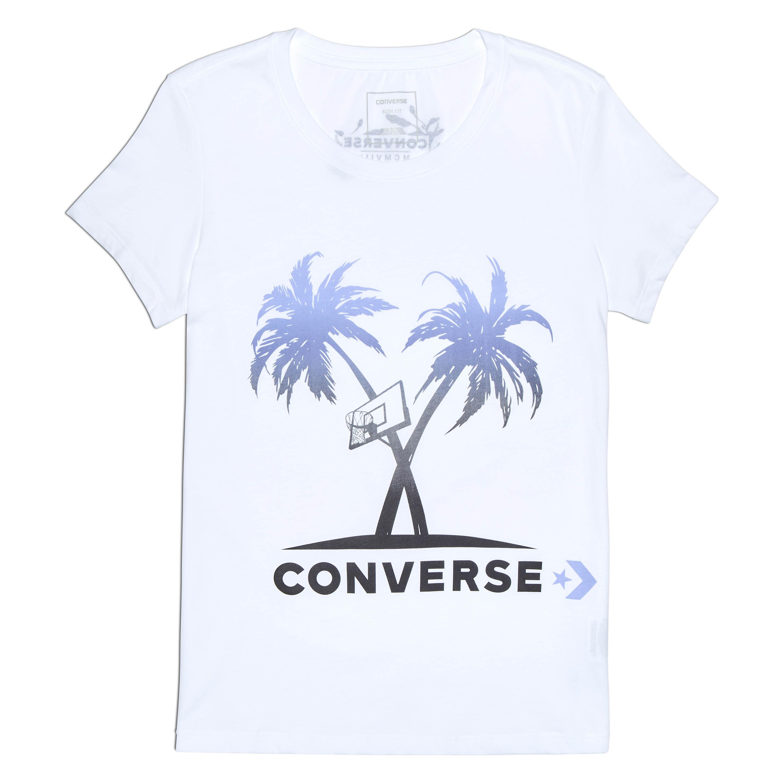 Converse נשים// חולצה עצי דקל לבנה