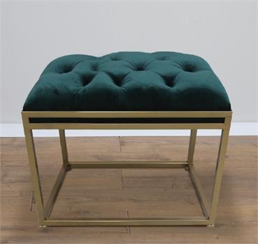 הדום ספסל ישיבה 50ס''מ קטיפה ירוקה משולב ברזל זהב 135100
