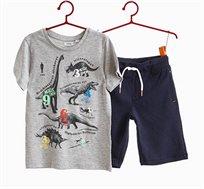 חליפת כותנה OVS לילדים עם הדפס דינוזאורים - אפור