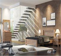 חדר שינה אביב הכולל מיטה זוגית, 2 שידות לילה, שידת 4 מגירות ומראה תוצרת LIVING ROOM