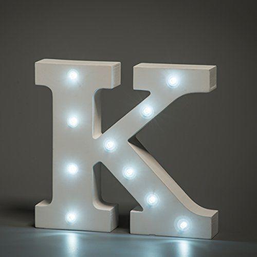 מנורת לילה עם תאורת לד Led מעוצבת בצורת האות K
