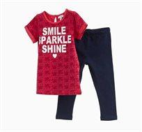 סט חולצה ומכנסיים לתינוקות וילדות עם הדפס SMILE SPARKLE SHINE