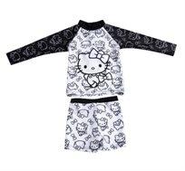 סט בגד ים שרוול ארוך הלו קיטי לתינוקות - שחור/לבן
