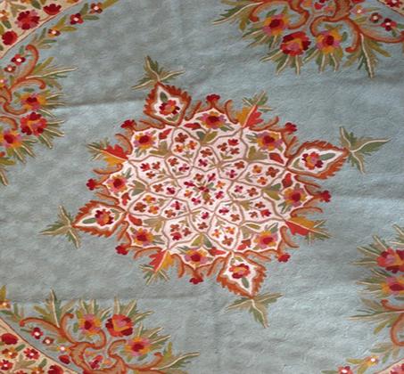 שטיח צמר פרחוני מעוצב עגול מעבודת יד משולב שלל צבעים במגוון גדלים לבחירה - משלוח חינם - תמונה 3